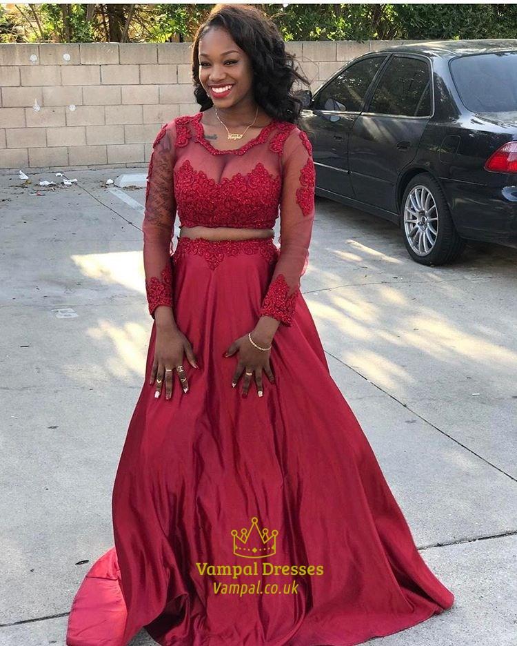 Burgundy Long Sleeve Prom Dress