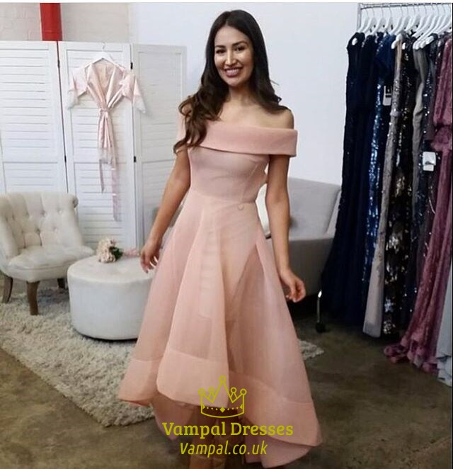 Lovely Light Pink Off The Shoulder A-Line High Low Evening Dress SKU -FS2524 0b021a7ce