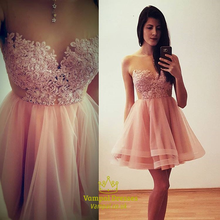 Blush Pink Short Strapless Lace Bodice Tulle A Line