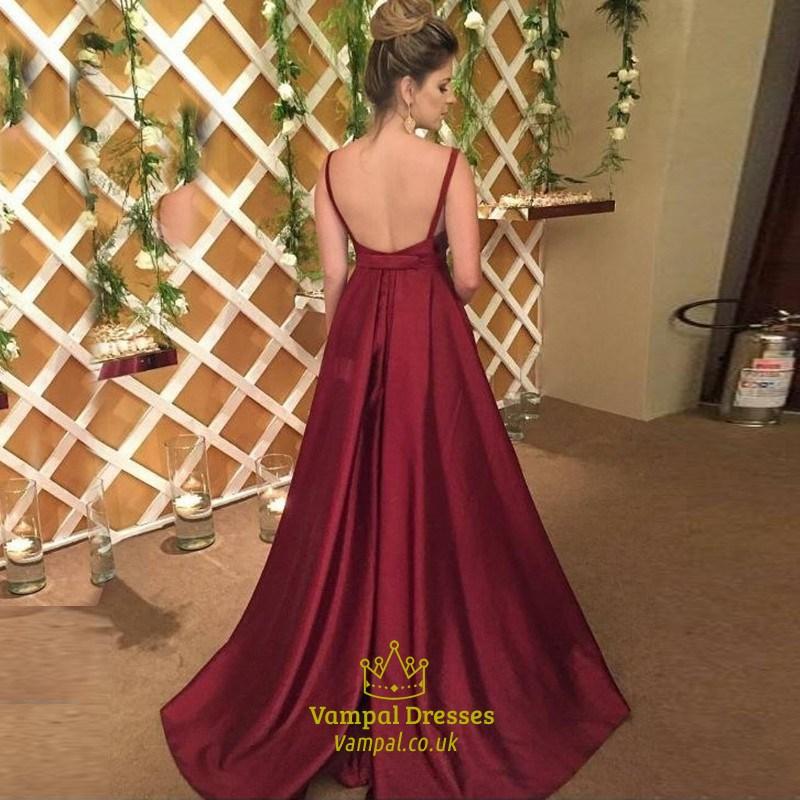 Burgundy Floor Length A Line V Neck Sleeveless Backless Formal Dress