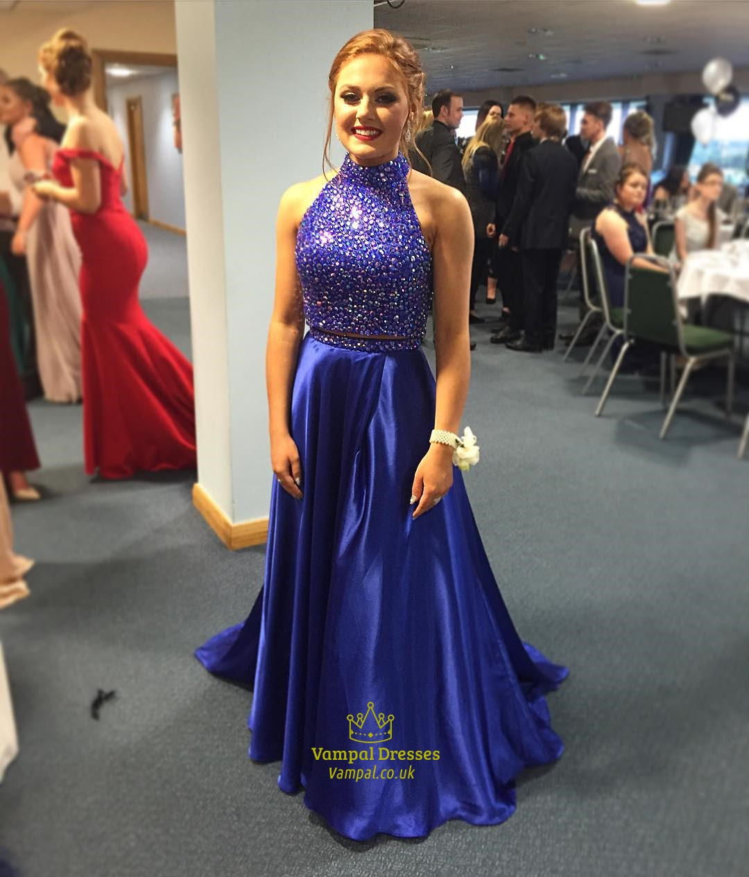 Royal Blue A Line Two Piece Beaded Bodice Prom Dress With Keyhole