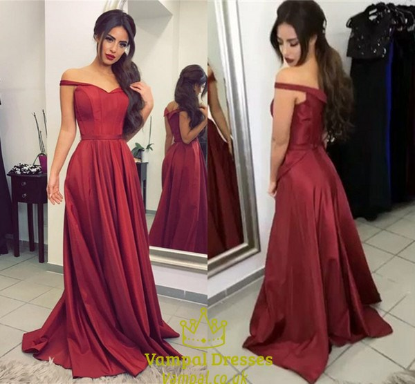 Burgundy Off The Shoulder V Neck Floor Length Satin A Line