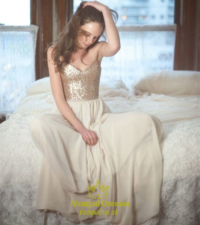 Champagne A Line Sequin Bodice Chiffon Bottom Floor Length Prom