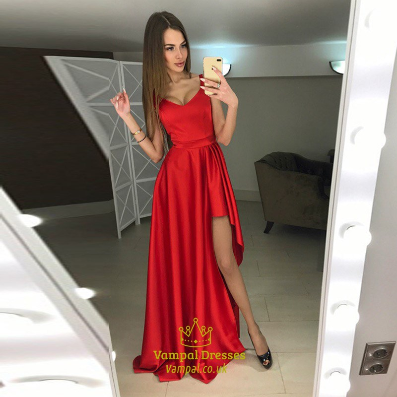 Elegant Burgundy Sleeveless V Neck A-Line Evening Gown With Side ...