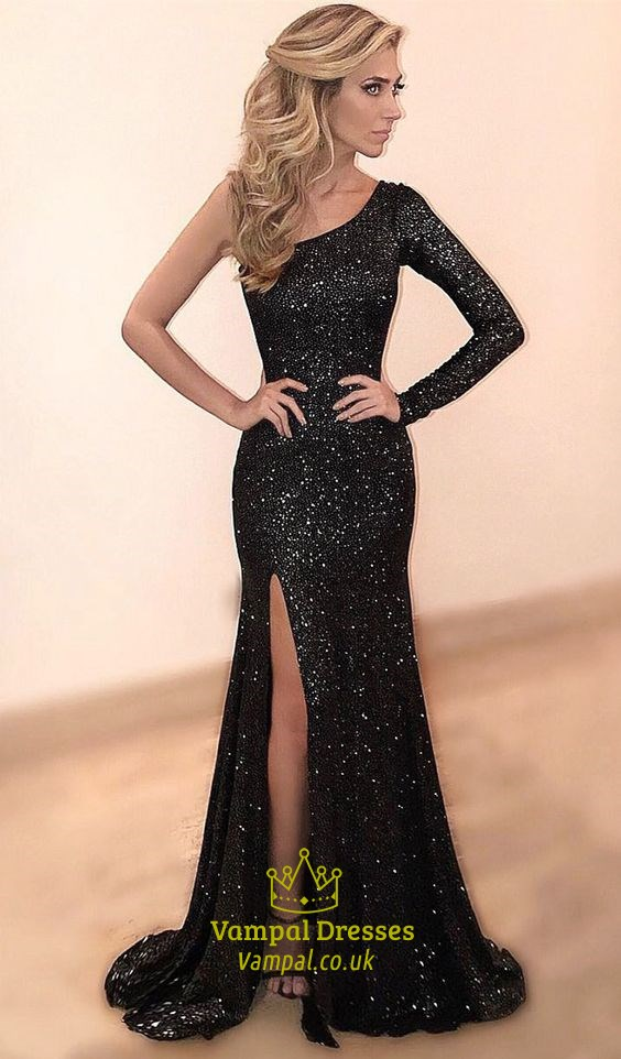 Black One Shoulder Long Sleeve Sequin Mermaid Prom Dress