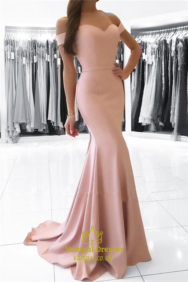Pink Off The Shoulder Sweetheart Floor Length Mermaid