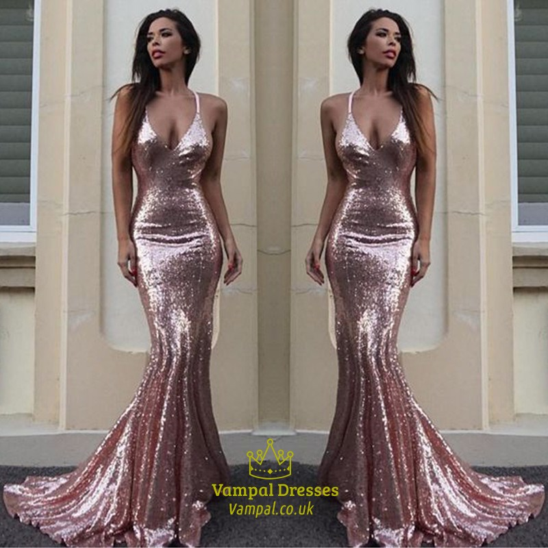 Pink Sequin Spaghetti Strap V-Neck Mermaid Floor Length Evening ...