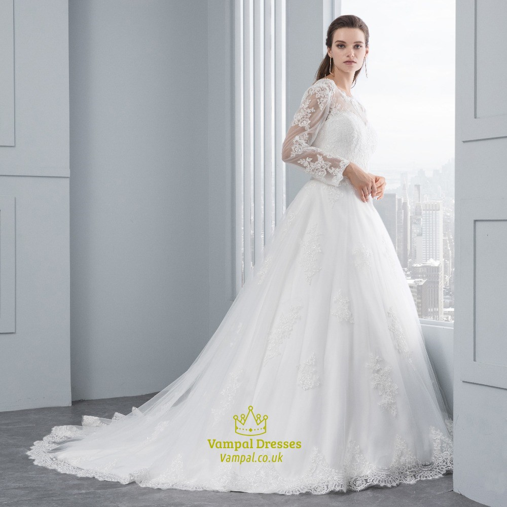 Illusion long sleeve lace embellished tulle ball gown for Wedding dress with illusion sleeves