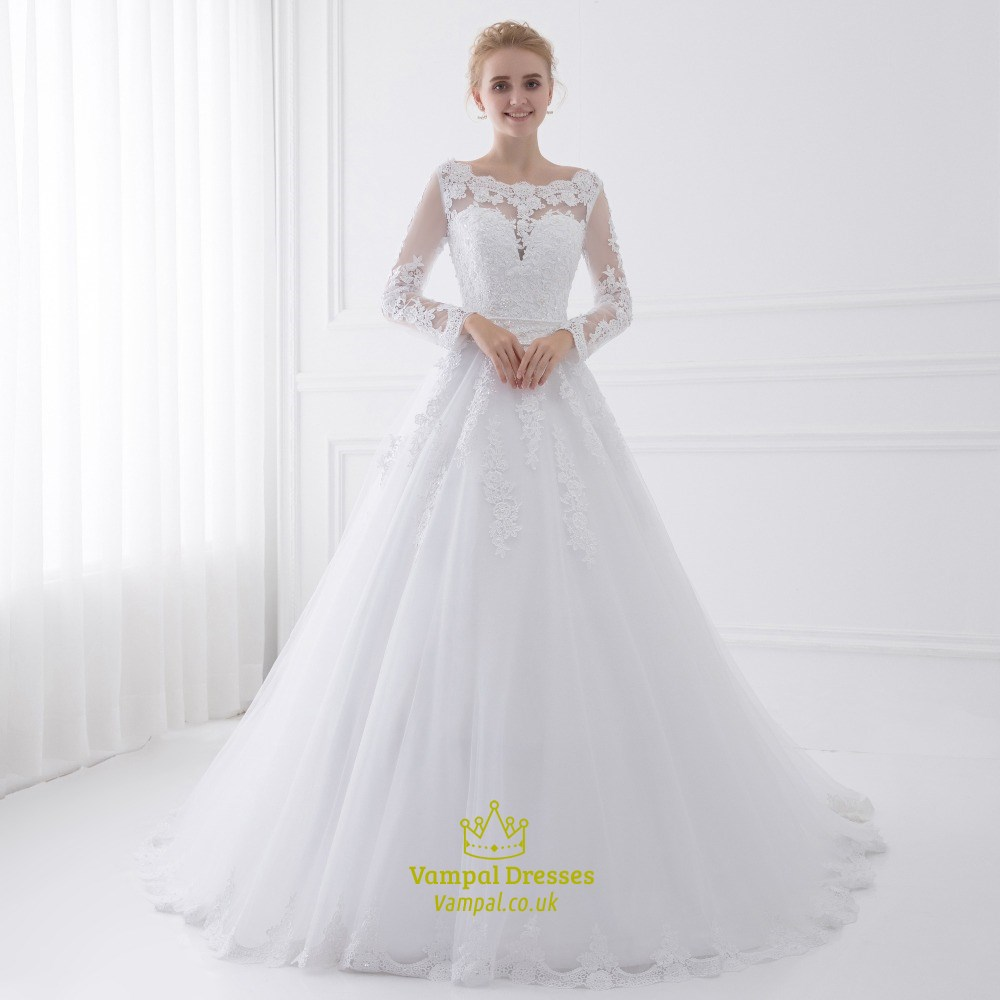 Illusion Long Sleeve Floor Length A-Line Tulle Ball Gown Wedding ...