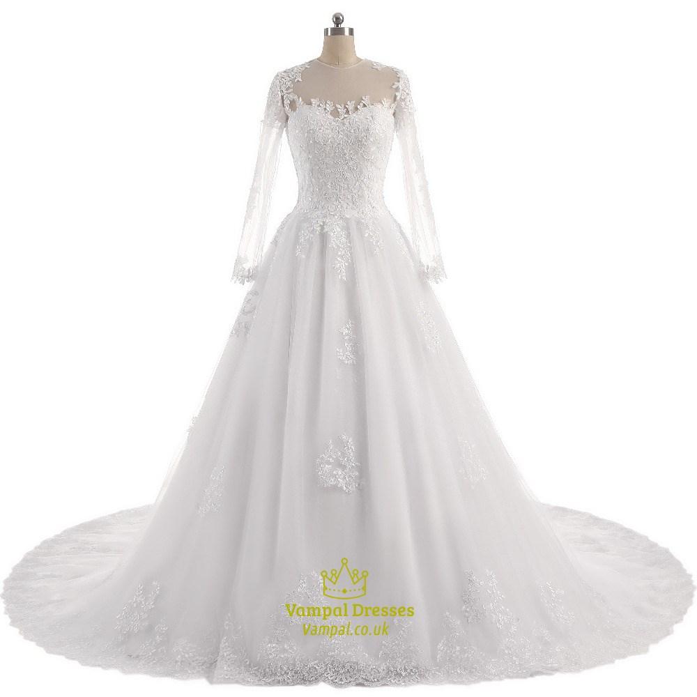 Sheer long sleeve lace embellished a line wedding dress for Long sleeve sheer wedding dresses