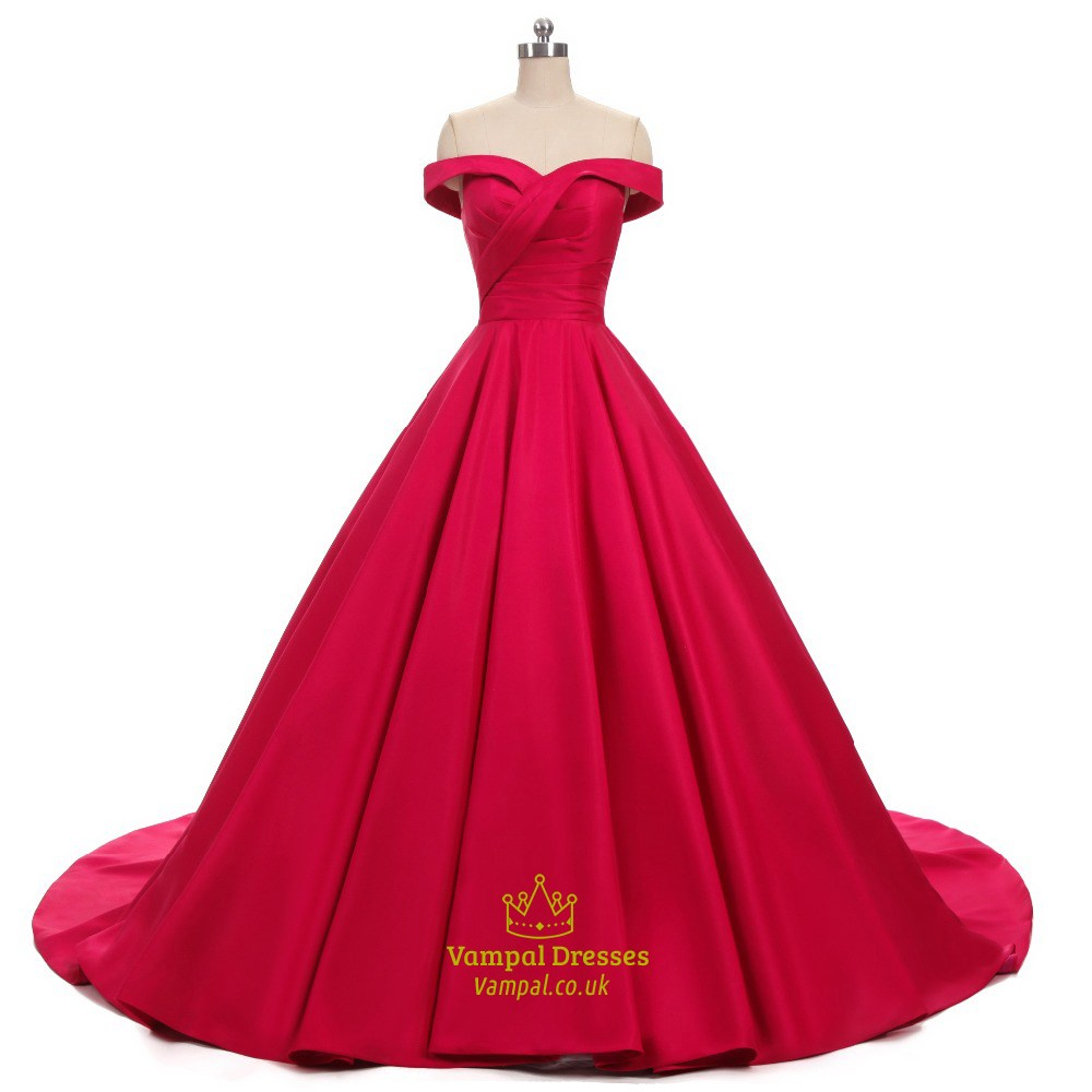 Elegant Off Shoulder A-Line Floor Length Satin Ball Gown Prom Dress ...