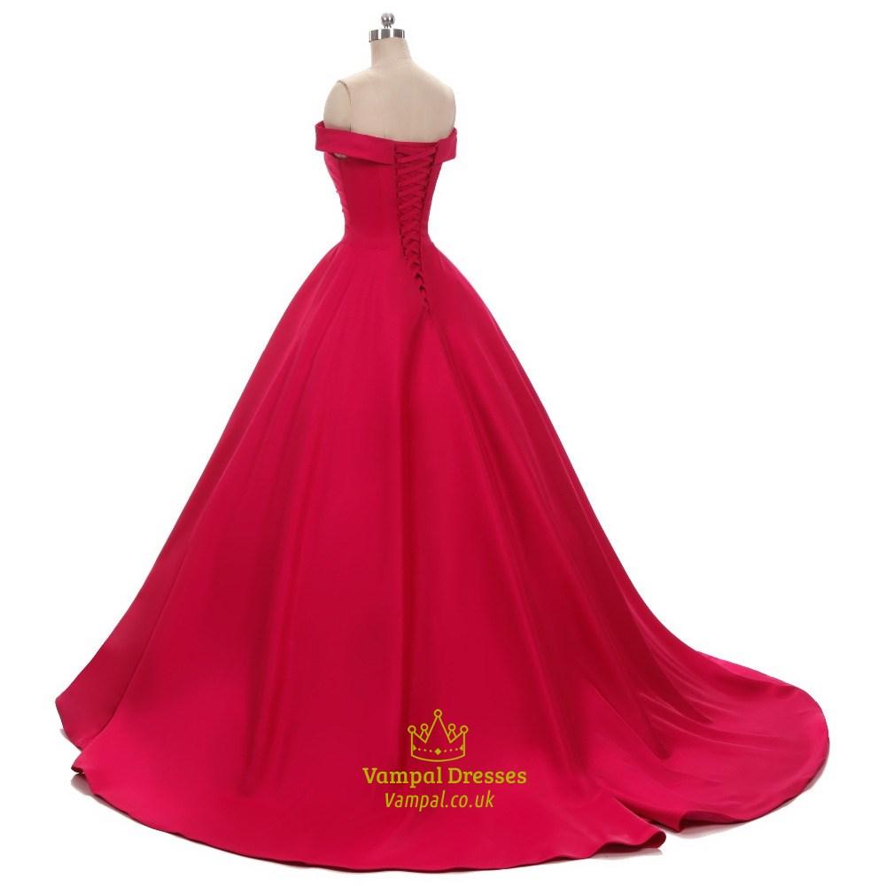 Elegant off shoulder a line floor length satin ball gown for Floor length gowns