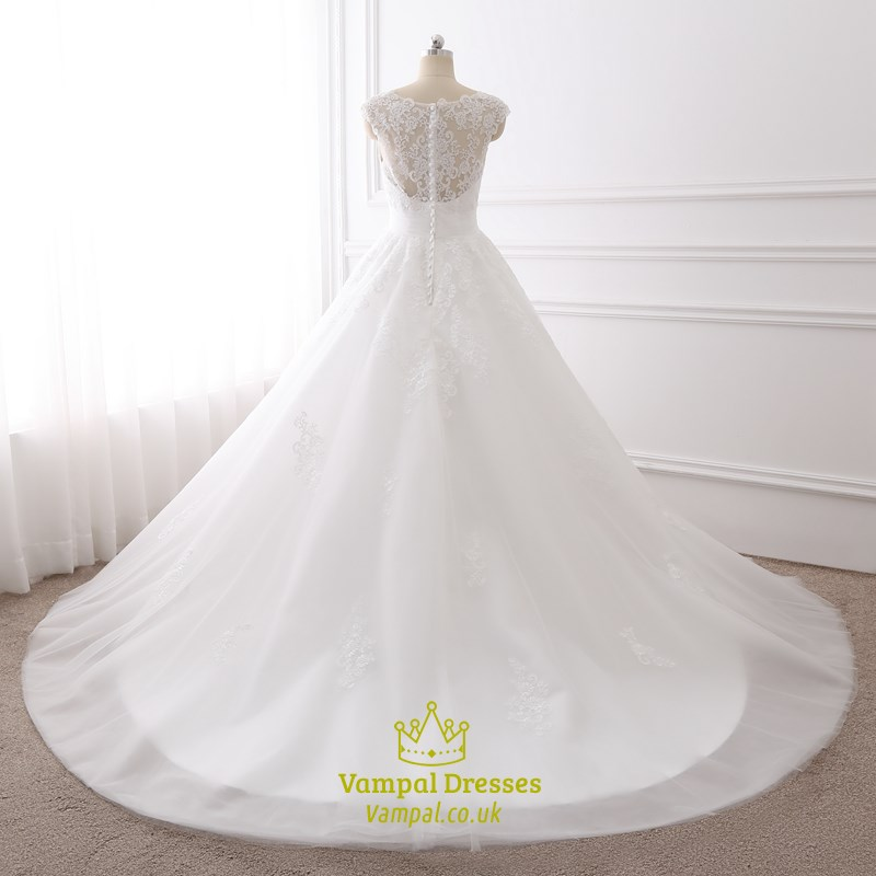 white cap sleeve sweetheart neckline wedding dress with