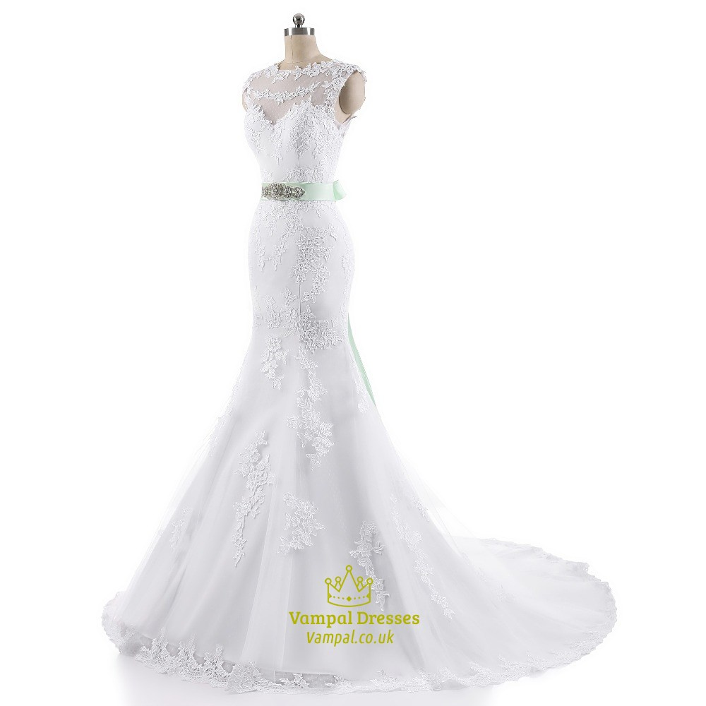 White Cap Sleeve Mermaid Lace Embellished Wedding Gown With ...
