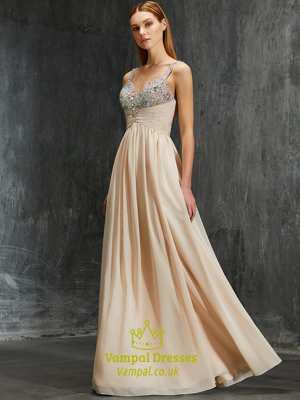604dd4c09e7 Sleeveless Chiffon Ruched Empire Waist Evening Dress With Beaded Top SKU  -FS2572