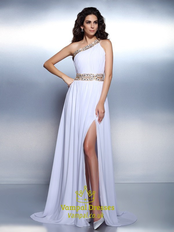 White Chiffon Beaded One Shoulder A Line Evening Dress