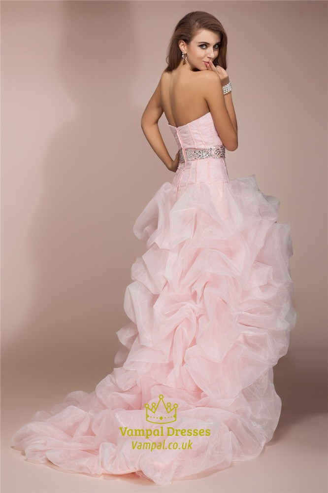 Light Pink Strapless Sweetheart High Low Ruffle Prom Dress ...