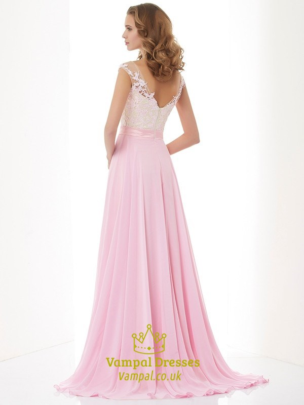 Light Pink Cap Sleeve Chiffon A Line Prom Dress With Sheer ...