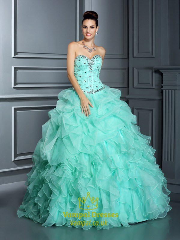 Turquoise Strapless Beaded Bodice Ruffled Skirt Ball Gown Prom Dress ...