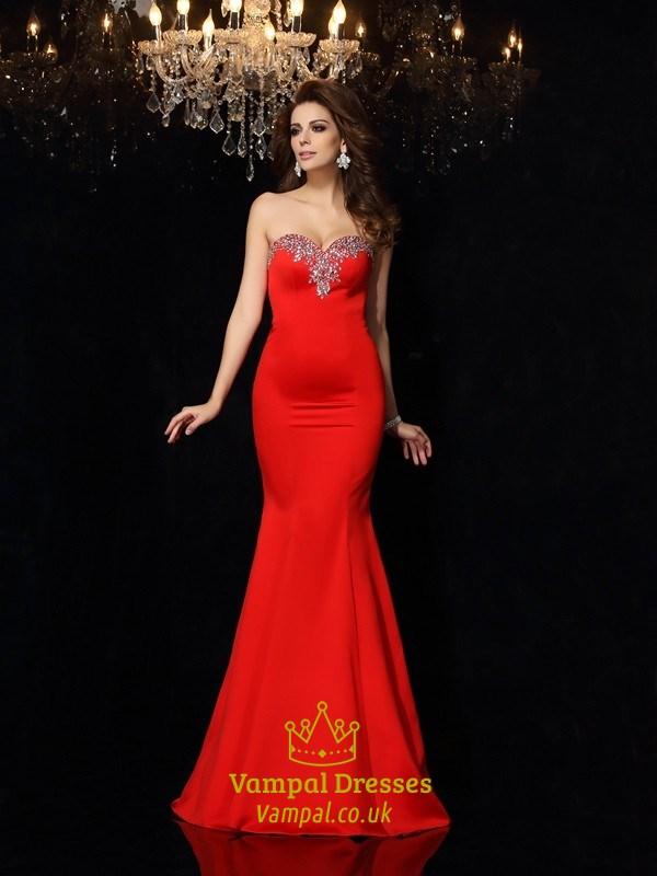4ab0e40884ae Elegant Red Strapless Mermaid Formal Dress With Embellished Neckline SKU  -FS2587