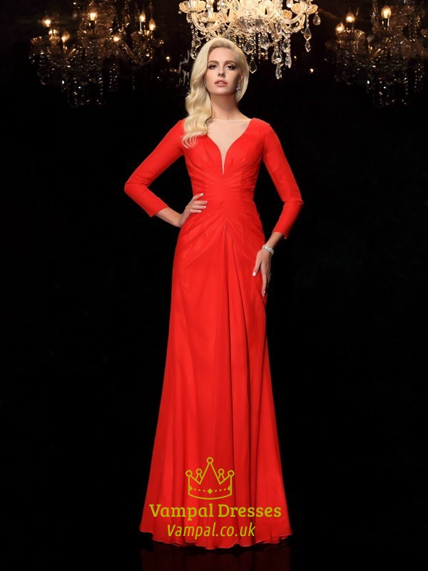 Simple Elegant Red Chiffon Floor Length Prom Dress With Long Sleeve ...