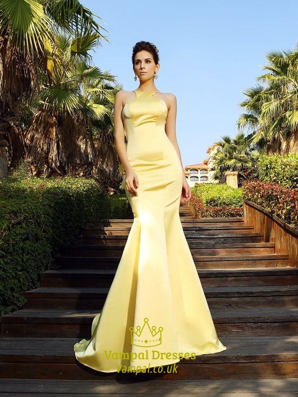 Yellow Elegant Sleeveless Mermaid Ruffle Formal Dress With