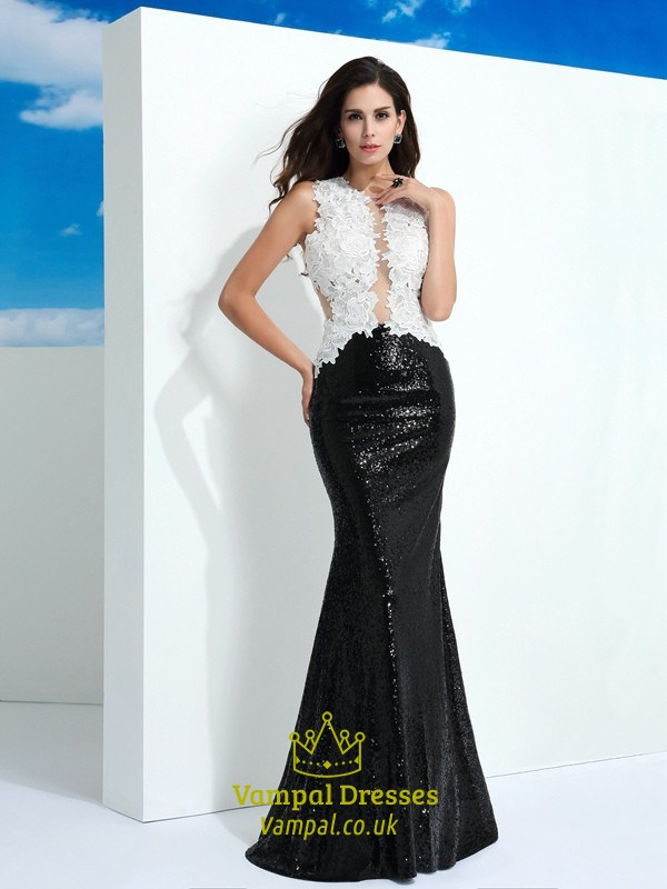 Black And White Sleeveless Lace Top Sequin Bottom Mermaid Prom Dress ...
