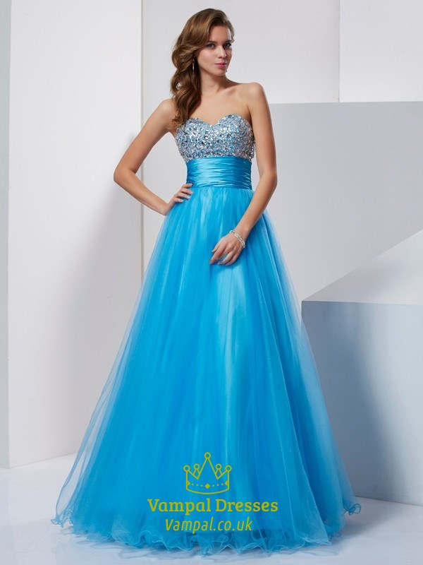 Aqua Blue Strapless Jeweled Bodice Empire Waist A-Line Tulle Prom ...
