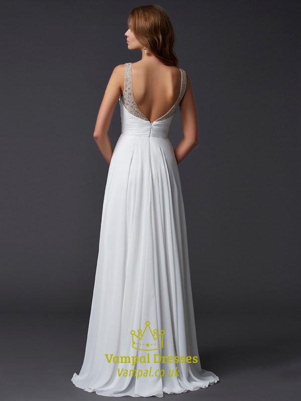 Backless Sleeveless White Chiffon A-Line Prom Dress With ...