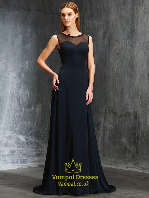 Elegant Black Sheer Neckline Floor Length Sleeveless Chiffon Prom