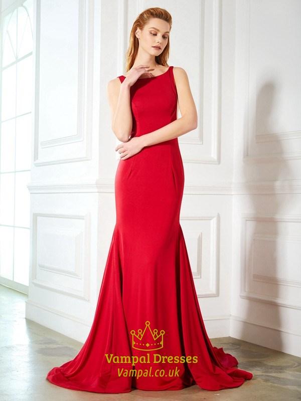 20fd8e94f9bd9b Red Floor Length Sleeveless Mermaid Satin Prom Dress With Open Back SKU  -FS2627