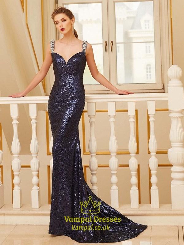 4a382662401e Black Sequin Floor Length Sleeveless Mermaid Prom Dress With Open Back SKU  -FS2630