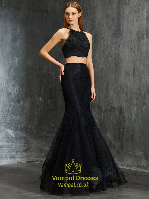 adc3bcc17df Black Two Piece Mermaid Sleeveless Long Prom Dress With Lace Bodice ...