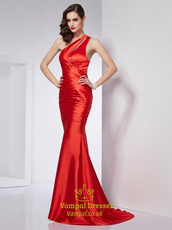 Elegant Red One Shoulder Drop Waist Mermaid Evening Dress With ...