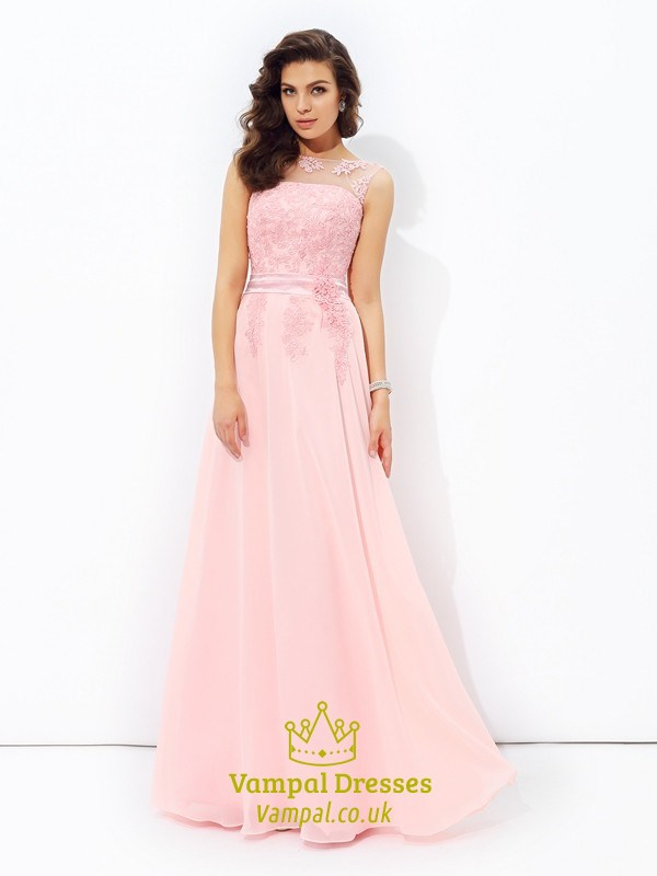 db649cfbd1f7f Blush Pink Illusion Neckline A-Line Floor Length Chiffon Prom Dress SKU  -FS2650