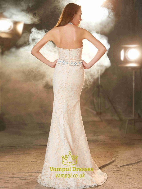 Halter Sleeveless Jewel Embellished Mermaid Open Back Lace