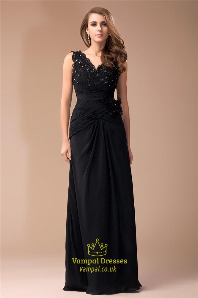 Black Empire Waist V Neck Beads Embellished Chiffon Long