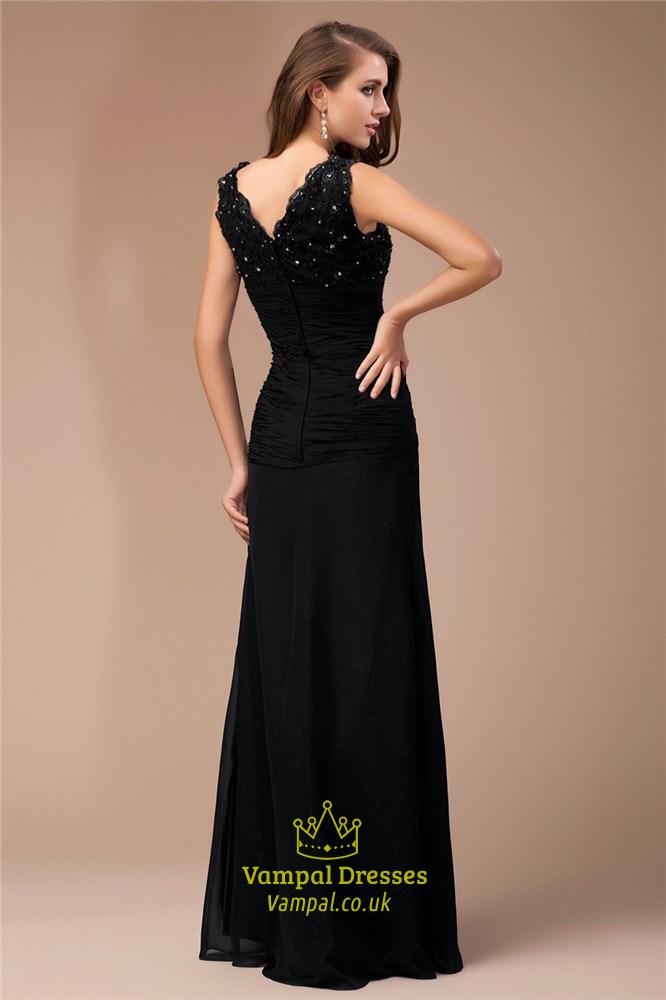 28305238e1 Black Empire Waist V-Neck Beads Embellished Chiffon Long Prom Dress ...