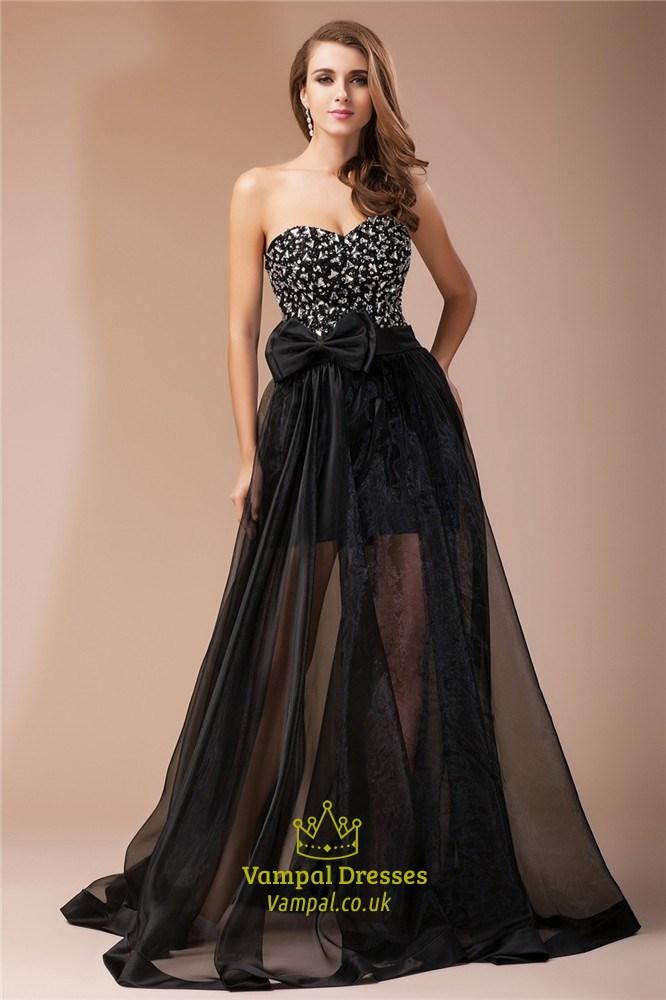 Sheer Overlay Prom Dress
