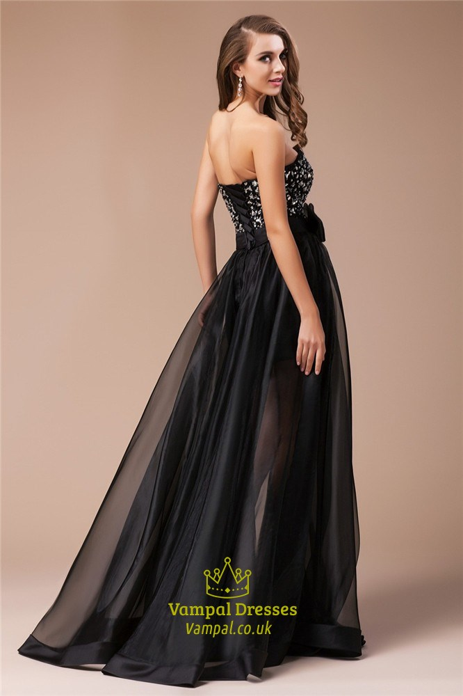 Black Strapless Jeweled Bodice A Line Prom Dress With
