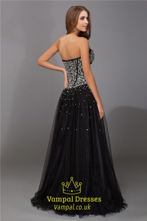 03053be8 Strapless Sweetheart Beaded Bodice A-Line Tulle Floor Length Prom Gown