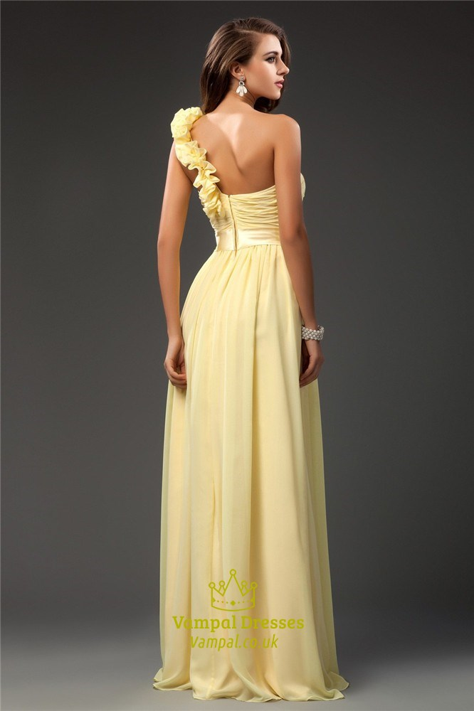 Light Yellow One Shoulder Ruched Bodice Prom Dress With