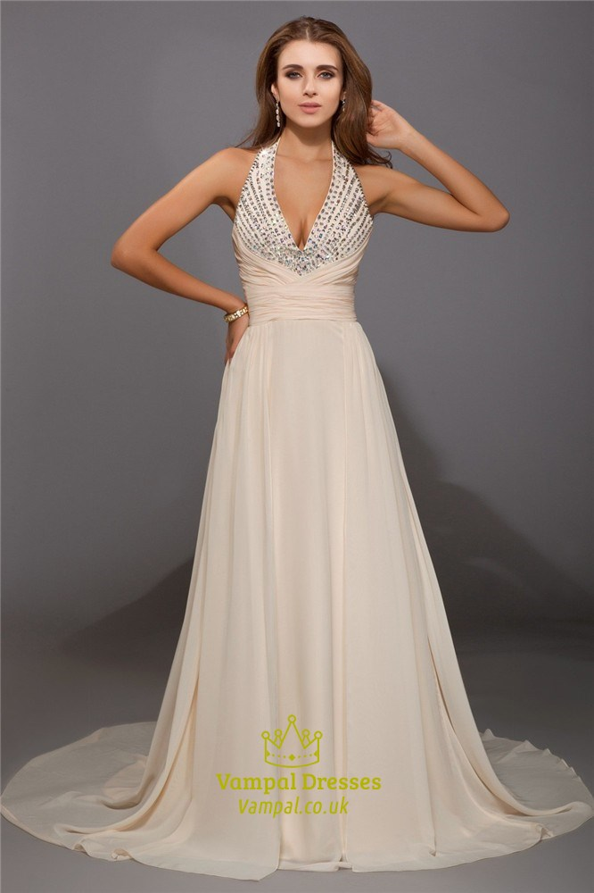 Halter V Neck Chiffon A Line Open Back Long Prom Dress With Sequins