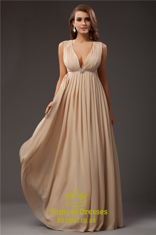 Plunge V Neck Empire Waist A-Line Floor Length Sleeveless Prom Dress ...