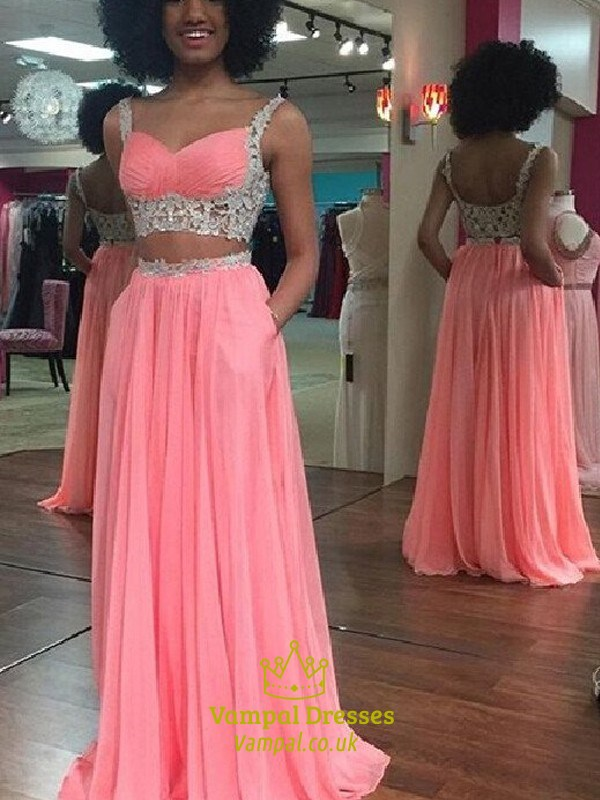 290b1986b0a66 Two-Piece A-Line Sleeveless Lace Embellished Chiffon Long Prom Dress SKU  -FS2670