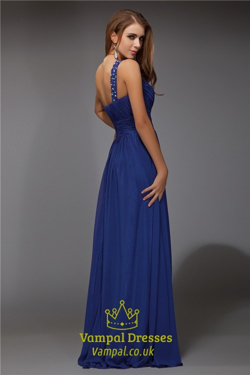 1e6ddf8448a Royal Blue One Shoulder Ruched Empire Waist Chiffon Long Prom Dress ...
