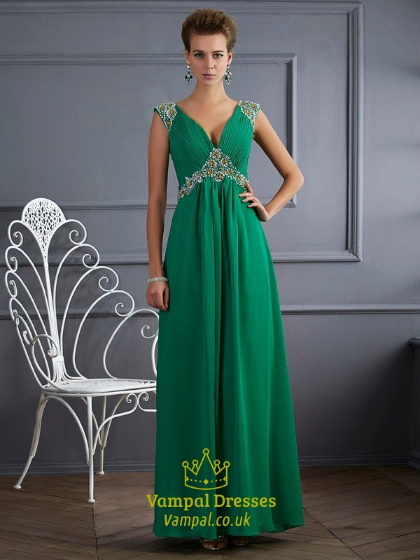Emerald Green A-Line Jeweled Cap Sleeve V-Neck Open Back Prom Dress ...