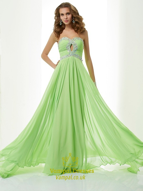 Apple Green Strapless Sweetheart A-Line Prom Dress With Keyhole ...