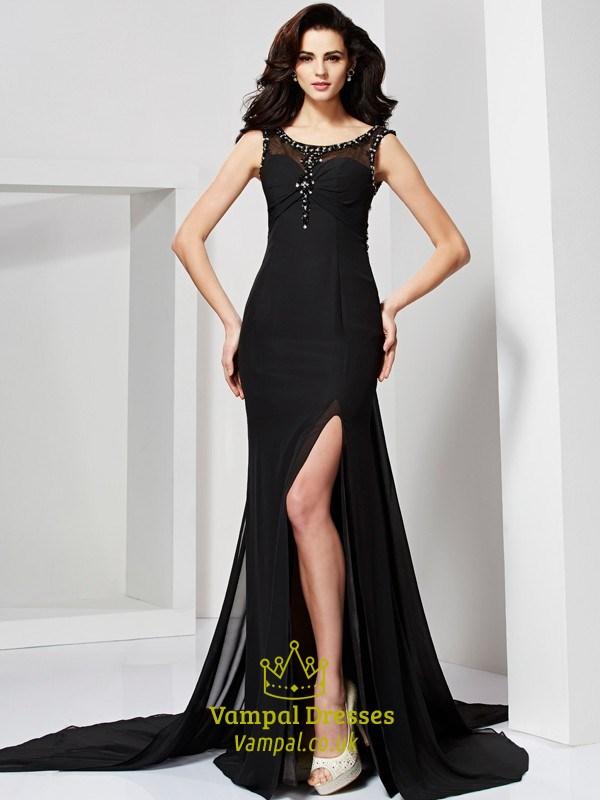 7d1ae5ba19 Black Sleeveless Long Mermaid Prom Dress With Illusion Beaded Bodice ...