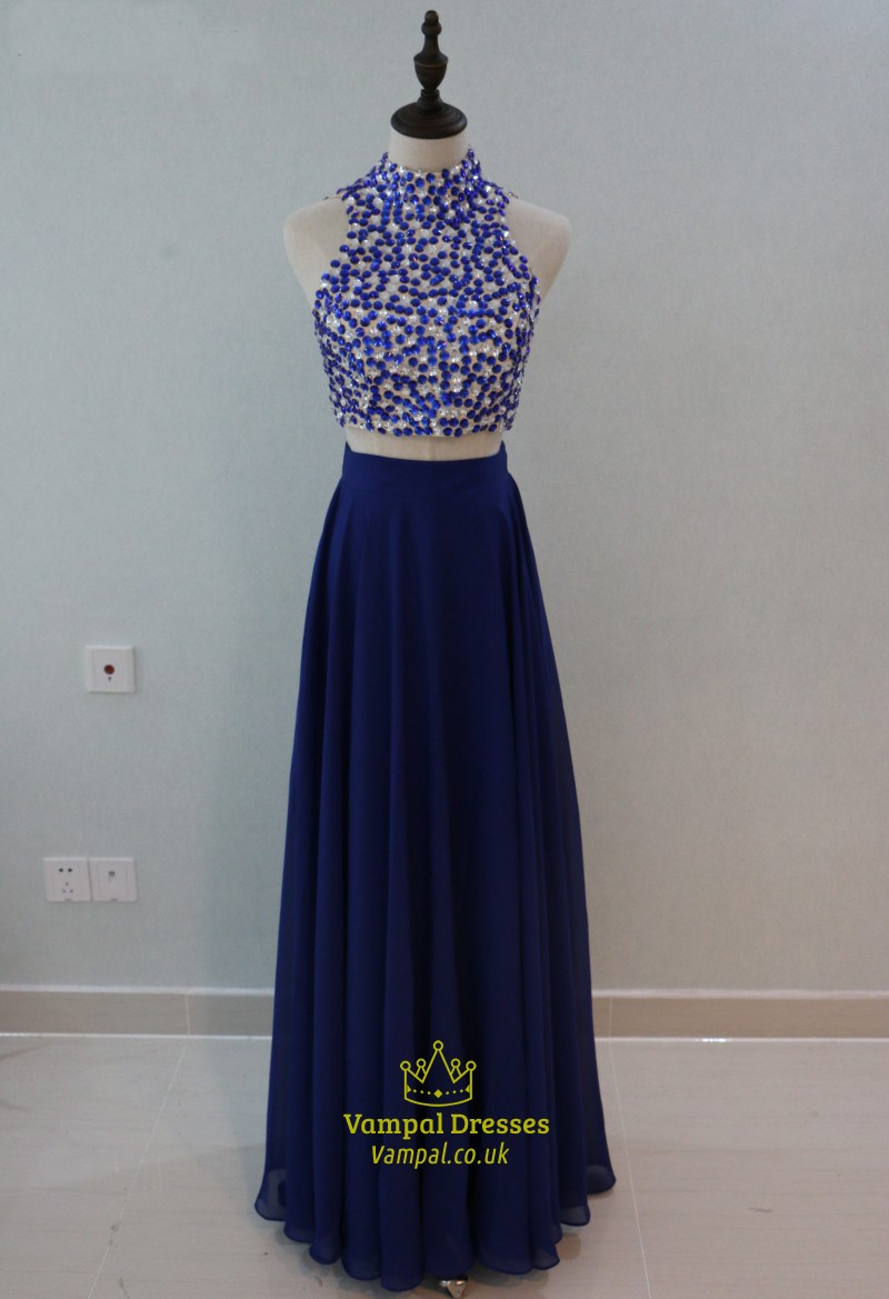 Royal Blue Two Piece Sleeveless High Neck Prom Dress With